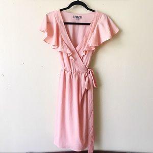 Peachy Blush Pink V-neck Ruffle Wrap Dress M